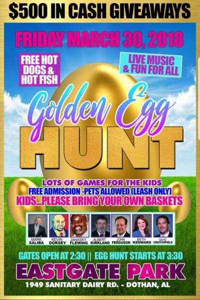 Golden Easter Egg Hunt Today at Eastgate Park