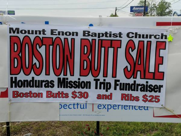 Mount Enon Baptist Church Hold a Boston Butt Sale Today and Tomorrow