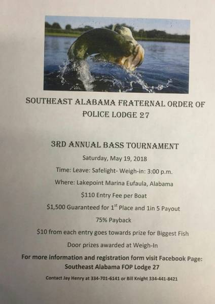 Fraternal Order of Police 3rd Annual Bass Tournament