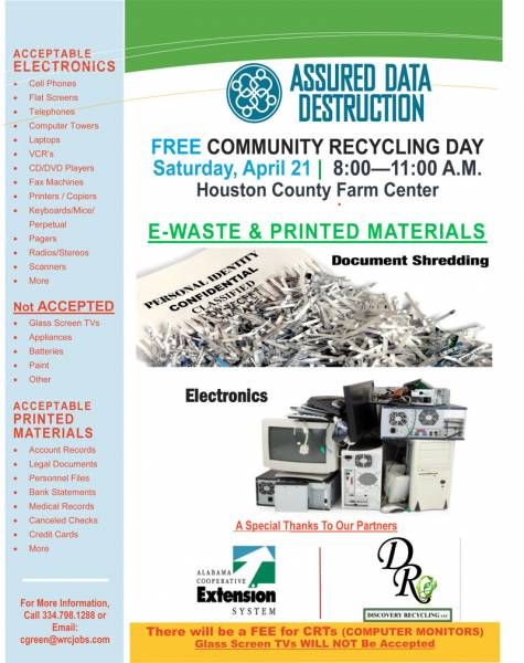 FREE Community Recycling Day -Saturday, April 21