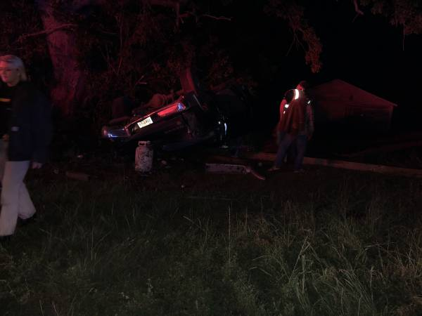 UPDATED @ 10:03 PM.  9:23 PM.   ONE VEHICLE OVERTURNED - Three Injuries To Include a Child