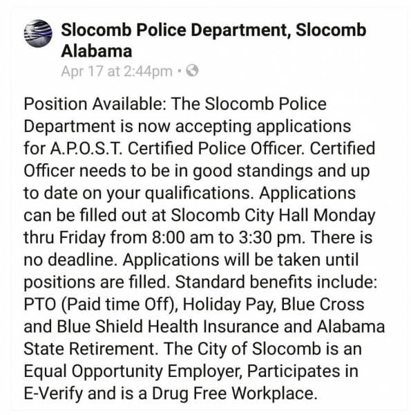 Slocomb Police Department is Hiring. Details Below