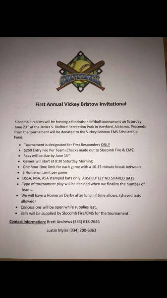 First Annual Vickey Bristow Invitational softball tournament