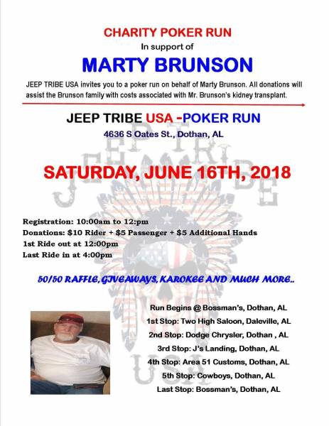 Poker Run for Mr. Marty Brunson