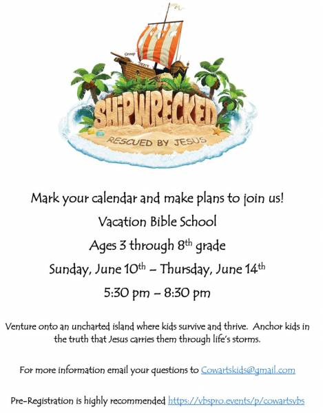 Cowarts Baptist Church to Host Vacation Bible School