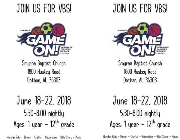 Smyrna Baptist Church to Host Vaction Bible School