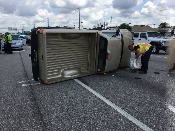 12:39 PM.  Four Vehicle Accident Serious - Critical Injuries Dispatched - Overturned