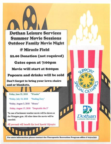 Family Movie Night at Miracle Field at Westgate Park Friday, July 13, 2018
