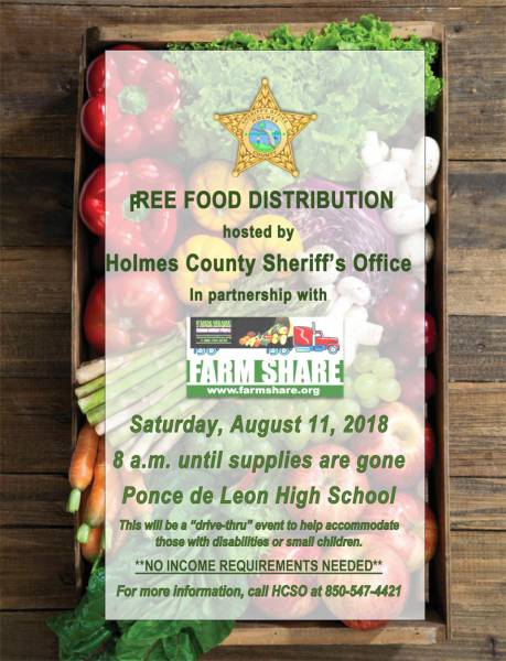 Holmes County Sheriff's Office to Host Farm Share Food Distribution