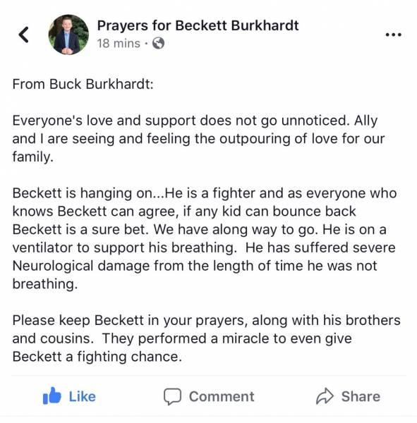 10:27 PM. Update From Burt Burkhardt - 8 Year Old Child