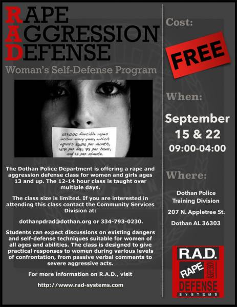 R A D Classes Set for September 15th & 22nd