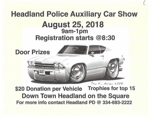Car Show and Fund Raiser for The Headland Police Auxiliary