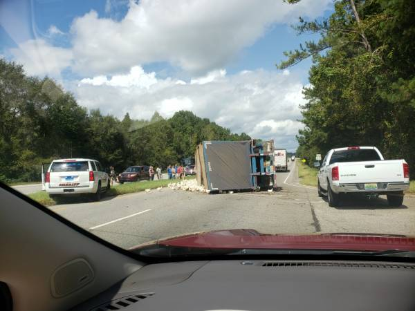 11:28 AM.    Overturned Chicken Truck On Highway 231 In Dale County