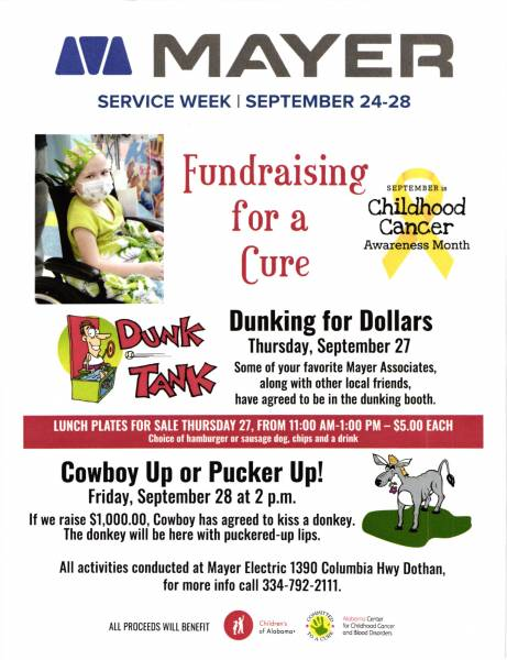 Childhood Cancer Fundraiser Today at Mayer Electric