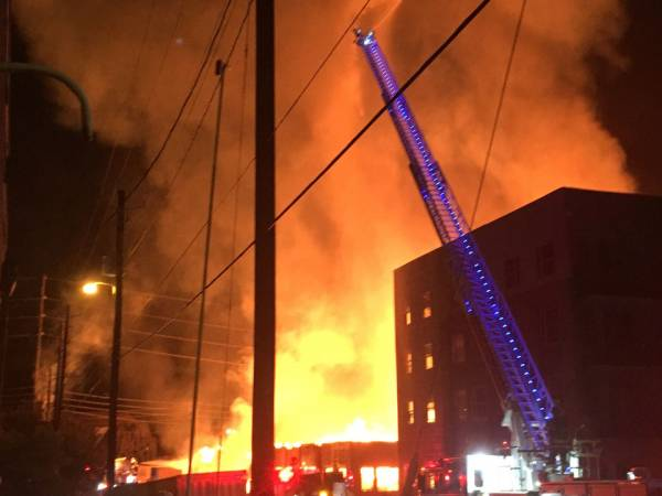 Massive 2-alarm fire destroys Lakeview apartments, law office; Birmingham firefighter hurt
