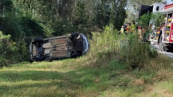 10:29 AM...Vehicle Overturned on the Bridge onFlowers Chapel