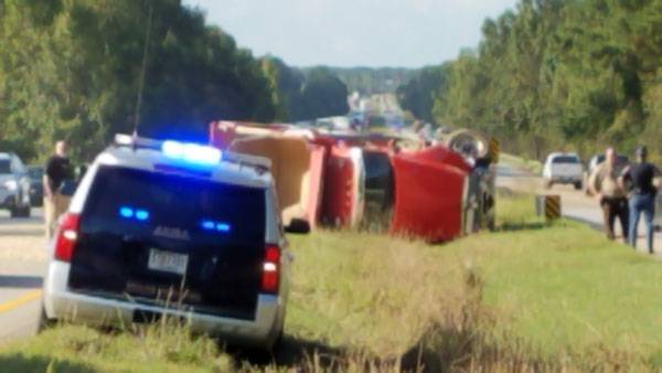 UPDATED 4:23 PM.  Semi Overturned In Dale County