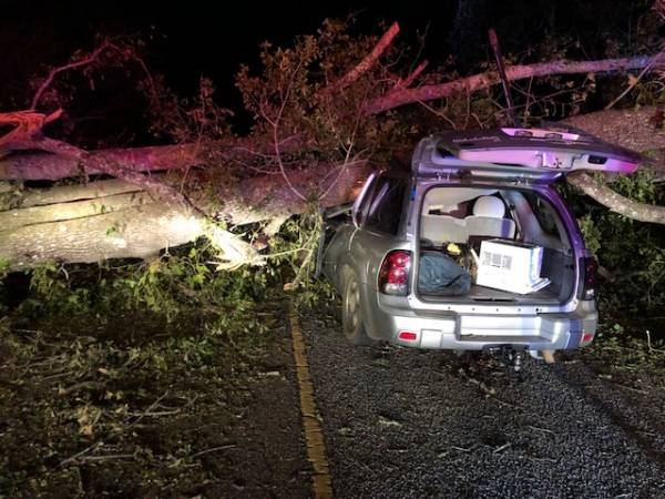 6:58 PM.. Vehicle veres Tree on Bill Yance Road