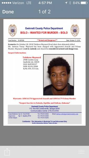 BOLO WANTED FOR MURDER OF A POLICE OFFICER.