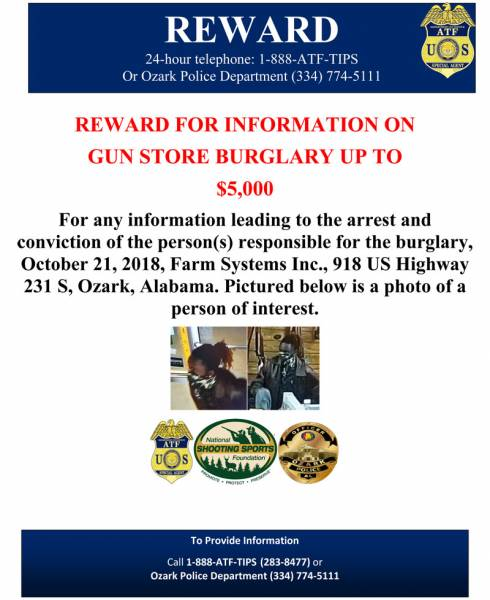 ATF Offers Reward in Gun Store Burglary