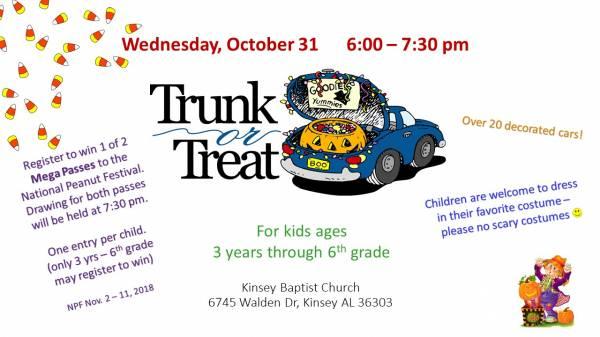 Kinsey Baptist Church will Host Trunk or Treat October 31st
