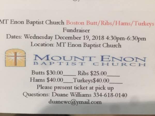 Mt Enon Baptist Church to Hold Boston Butt-Ribs-Ham-Turkey Fundraiser