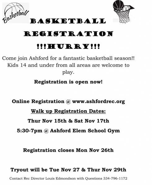 Ashford Basketball Registration