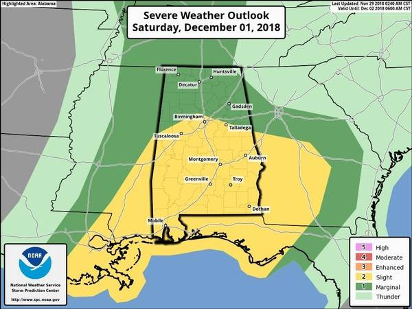 The Potential for Strong to Severe Storms Possible in Alabama both Friday and Saturday