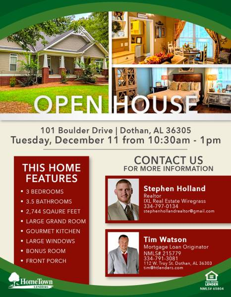 Open House Tomorrow at 101 Boulder Drive