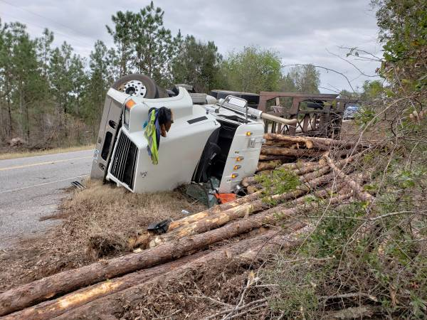 11:48 AM... Log Truck Overturned on Hwy 95 in Gordon