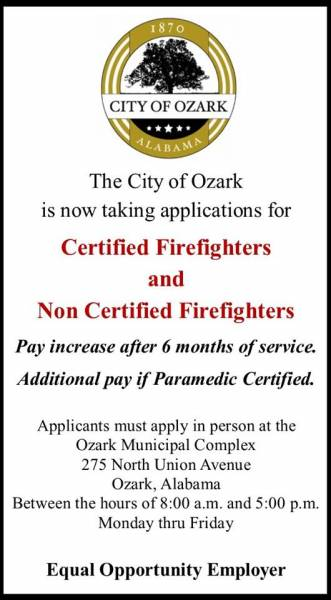 City of Ozark Taking Applications for Firefighters