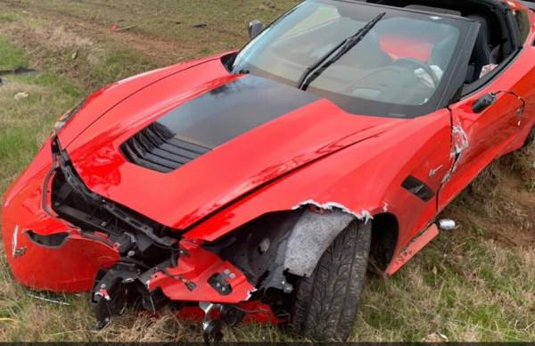UPDATED @ 9:11 PM With Pictures    Corvette Totaled In 1100 Block of West Saunders Road