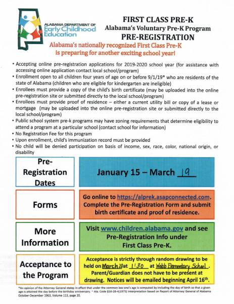 First Class Pre-K Pre- Registration
