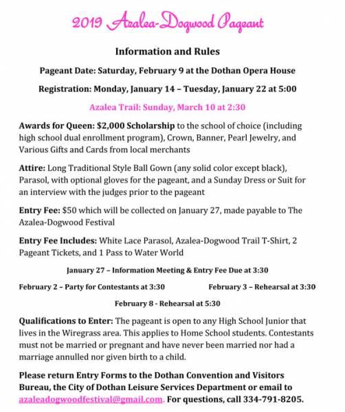 2019 Azalea-Dogwood Festival Pageant Registration Ends January 22nd
