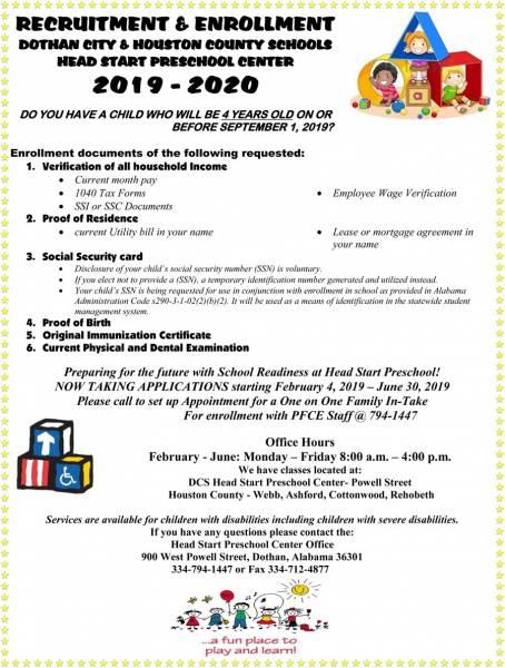 DCS Head Start Enrollment Starts February 4th!!!