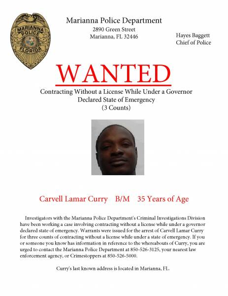 Wanted by Marianna Police Department