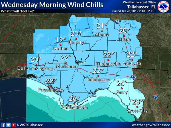 Strong Cold Front on Tuesday, Cold Temperatures Wednesday Morning