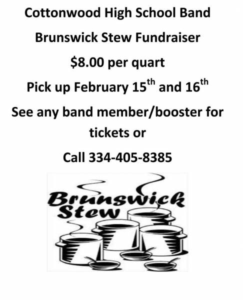 The Cottonwood High School Band is having their annual Brunswick Stew Sale Fundraiser
