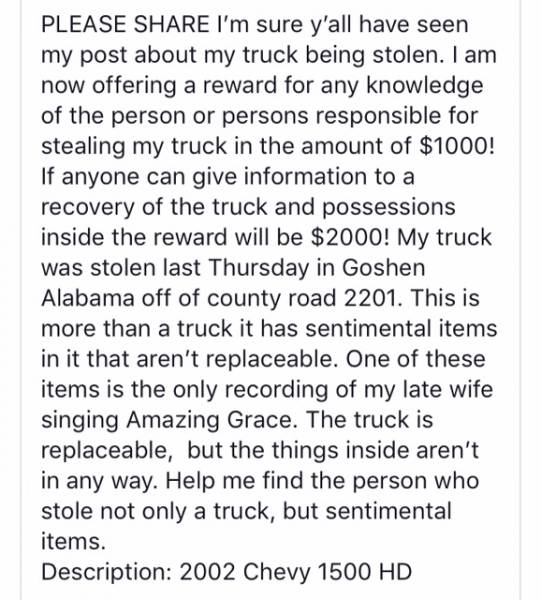 Reward for Stolen Truck