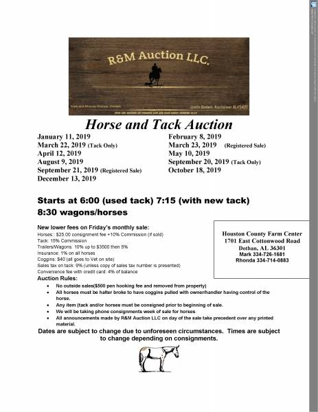 Horse and Tack Auction Friday night