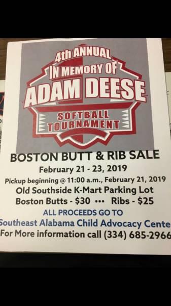 4th Annual in Memoryof Adam Deese BostonButt and Rib Sale