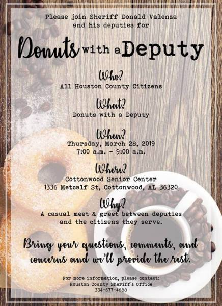 Donuts with a Deputy on March 28th in Cottonwood