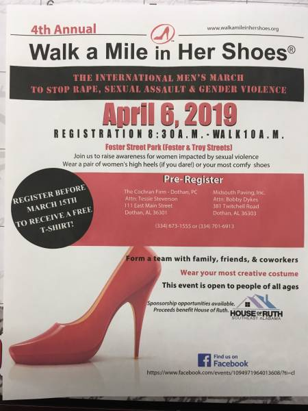 Wlk a Mile in Her Shose Set for April 6th