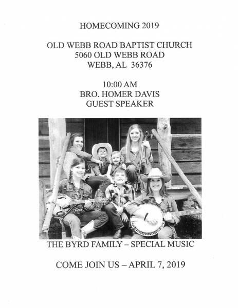 Old Webb Road Baptist Church Homecoing 2019