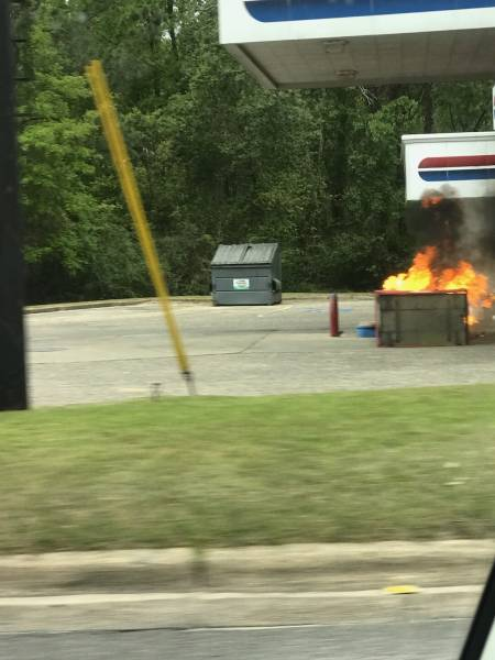 1:41 PM.. Gas Pump Catches Fire at Cottonwood and Third