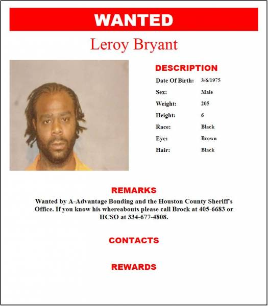 Wanted by A-Advantage Bonding and the Houston County Sheriff's Office
