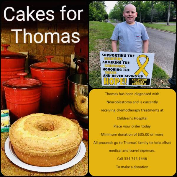 CAKES FOR THOMAS..TOGETHER WE CAN MAKE A DIFFERENCE.  11 yr old Thomas was diagnosed with neuroblastoma
